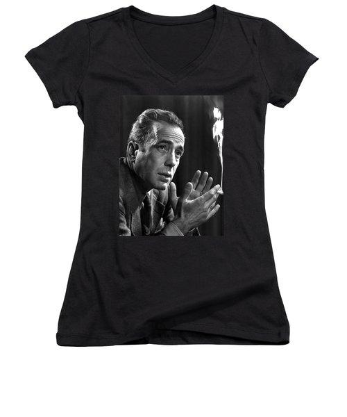 Humphrey Bogart Portrait 2 Karsh Photo Circa 1954-2014 Women's V-Neck T-Shirt (Junior Cut) by David Lee Guss