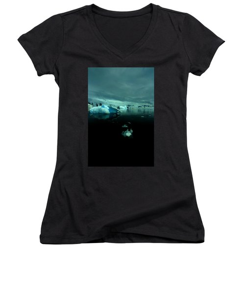 Women's V-Neck T-Shirt (Junior Cut) featuring the photograph Icebergs by Amanda Stadther