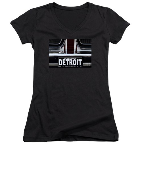 Imported From Detroit Women's V-Neck T-Shirt (Junior Cut) by Dennis Hedberg