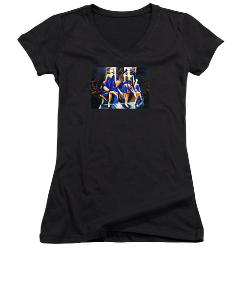 Women's V-Neck T-Shirt (Junior Cut) featuring the painting In Time by Georg Douglas
