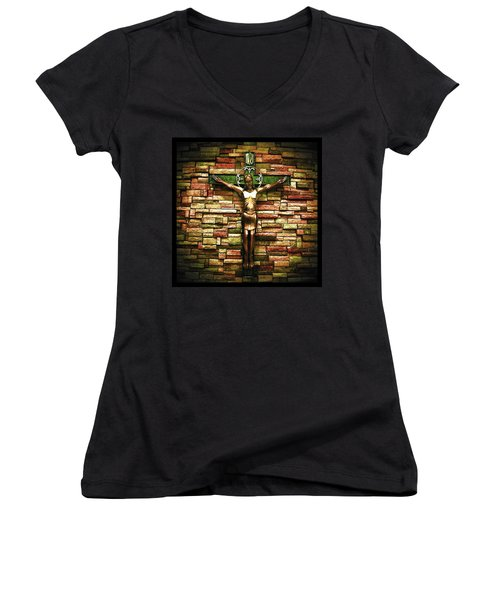 Women's V-Neck featuring the photograph Jesus Is His Name Black Border by Al Harden