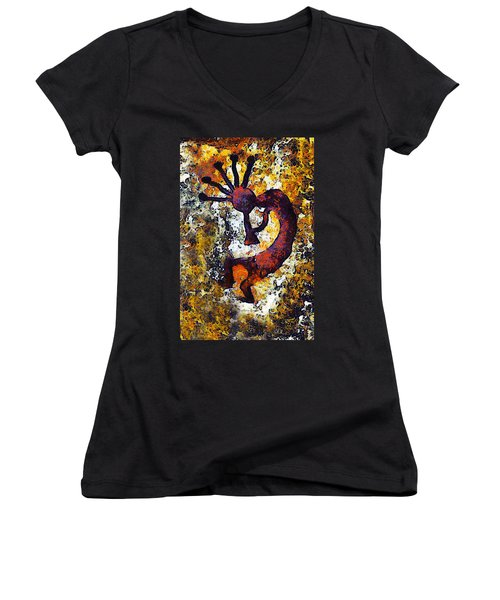 Kokopelli The Flute Player Women's V-Neck T-Shirt (Junior Cut) by Barbara Snyder