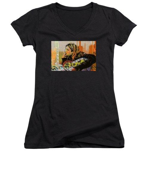 Kurt Cobain Women's V-Neck T-Shirt (Junior Cut)