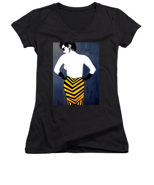 Women's V-Neck T-Shirt (Junior Cut) featuring the painting Lady In Stripes by Nora Shepley