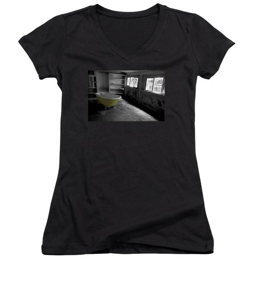 Left Behind Women's V-Neck T-Shirt (Junior Cut) by Michael Eingle