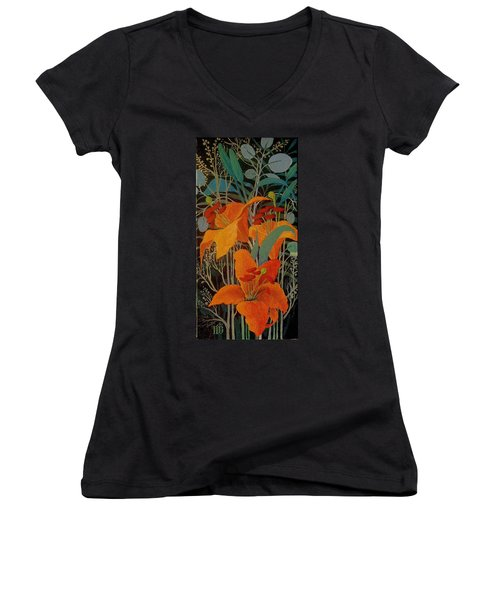 Women's V-Neck T-Shirt (Junior Cut) featuring the painting Lilies by Marina Gnetetsky