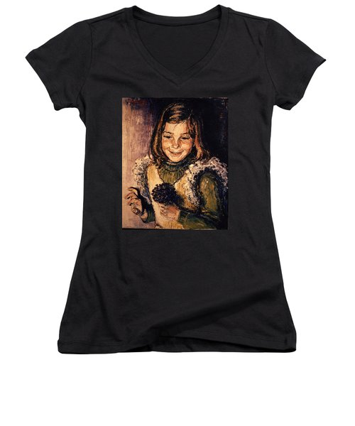 Women's V-Neck T-Shirt (Junior Cut) featuring the painting Luisa Fernanda by Walter Casaravilla