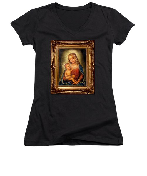 Women's V-Neck T-Shirt (Junior Cut) featuring the painting Madonna Beata by Ananda Vdovic