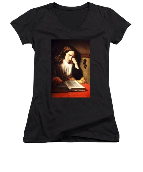 Mae's An Old Woman Dozing Over A Book Women's V-Neck T-Shirt