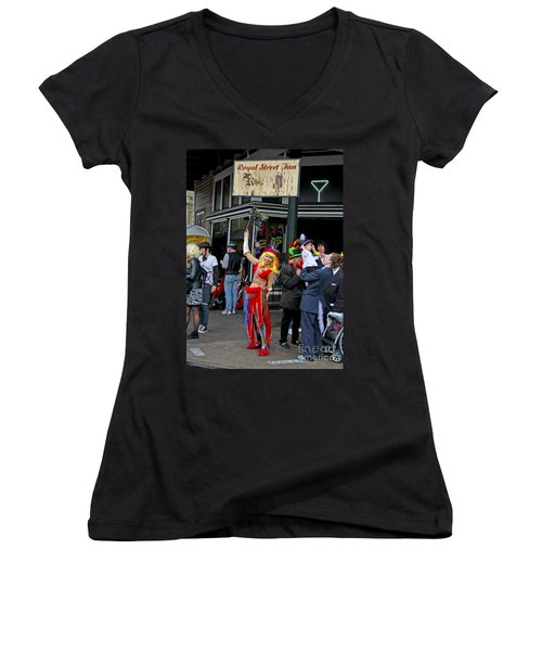 French Quarter Mardi Gras Women's V-Neck T-Shirt