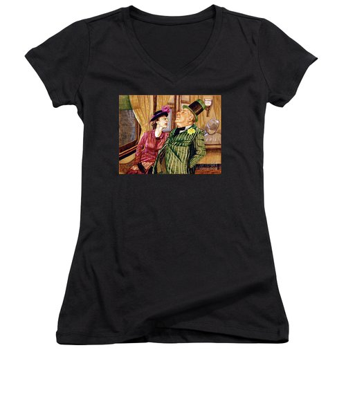 Margaret And W.c. Fields Women's V-Neck T-Shirt (Junior Cut) by Linda Simon