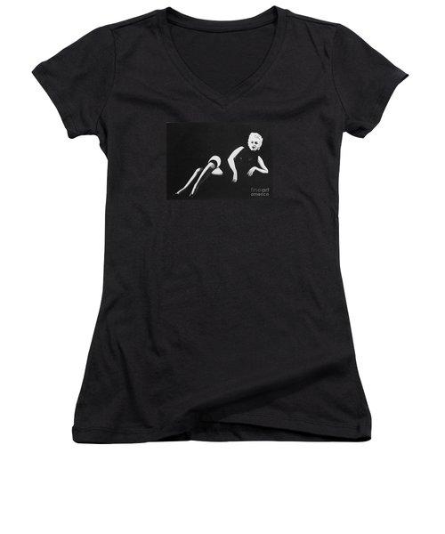 Marilyn Reclining Women's V-Neck T-Shirt (Junior Cut) by Joseph Sonday