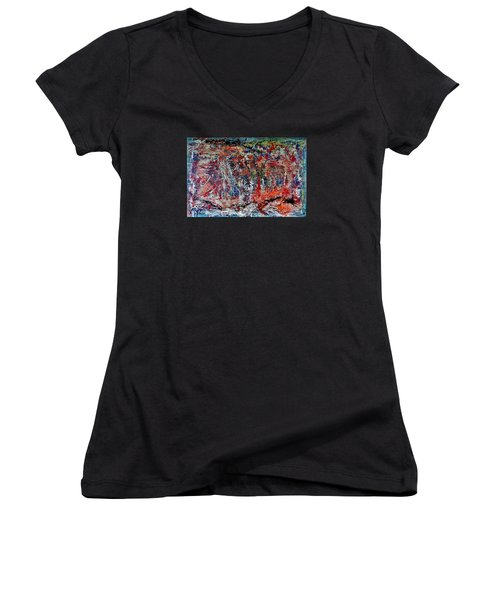 Women's V-Neck T-Shirt (Junior Cut) featuring the painting Nature Walk In The Yakima Delta by Lisa Kaiser