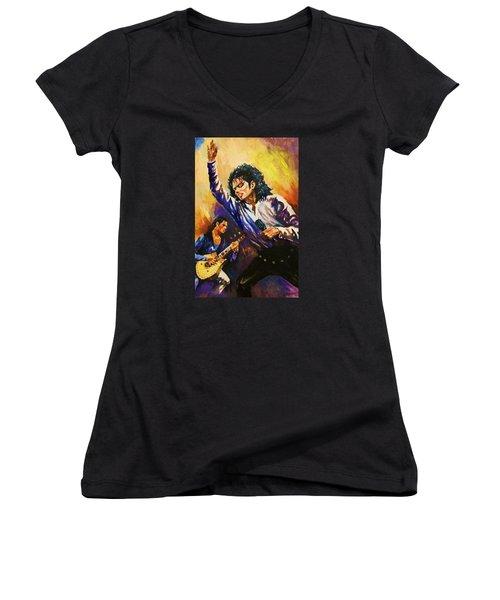 Michael Jackson In Concert Women's V-Neck T-Shirt