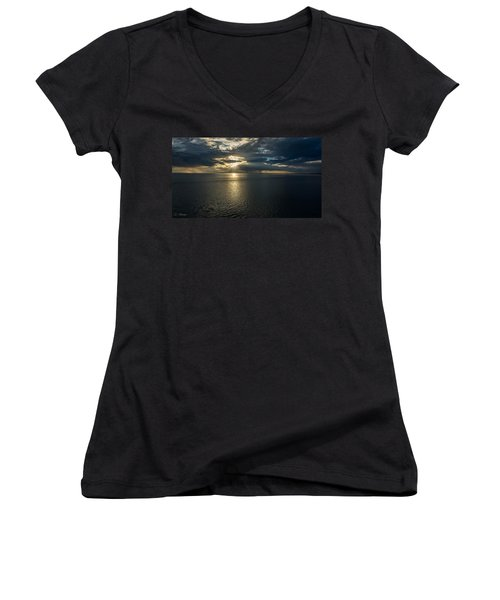 Midnight Sun Over Mount Susitna Women's V-Neck T-Shirt (Junior Cut) by Andrew Matwijec