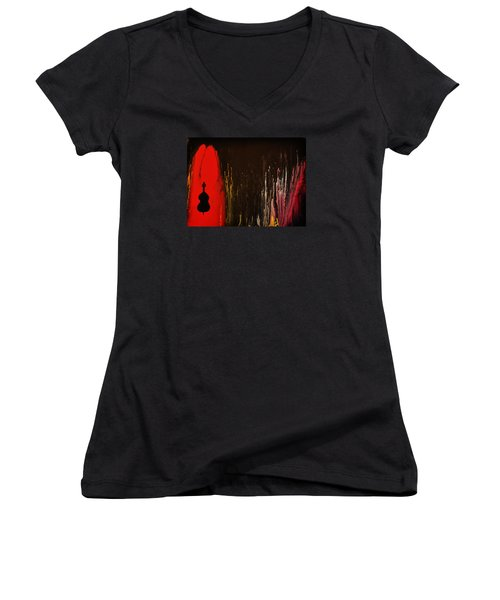 Women's V-Neck T-Shirt (Junior Cut) featuring the painting Mingus by Michael Cross