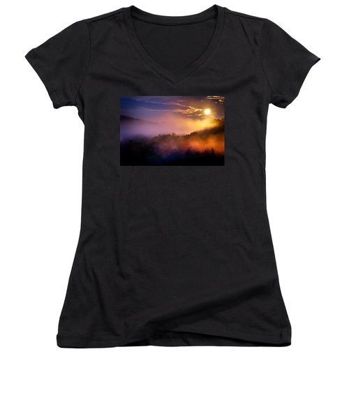 Moon Setting In Mist Women's V-Neck (Athletic Fit)