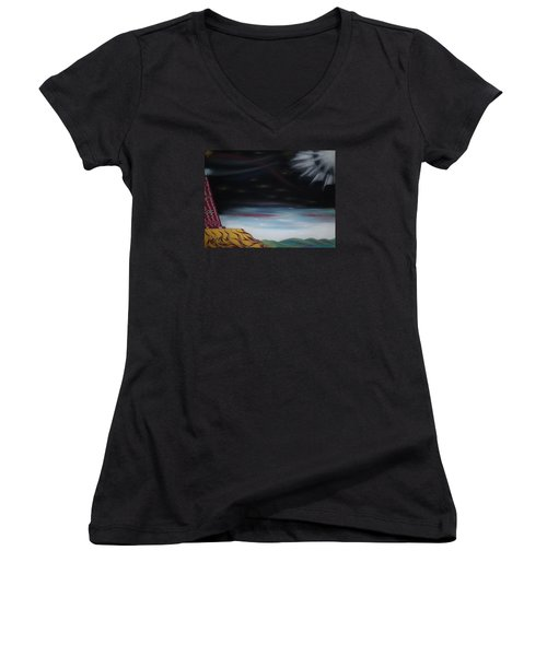 Women's V-Neck T-Shirt (Junior Cut) featuring the pastel Moon Tower by Robert Nickologianis