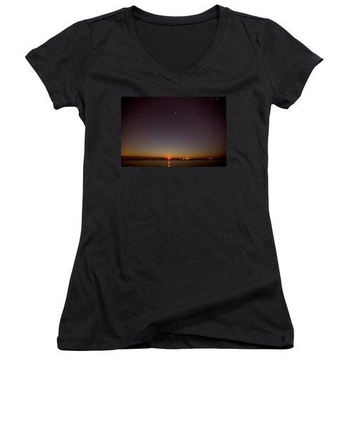 Moonrise On Tybee Island Women's V-Neck