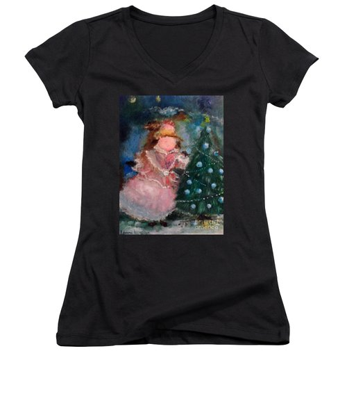 Mother Christmas Women's V-Neck T-Shirt (Junior Cut)
