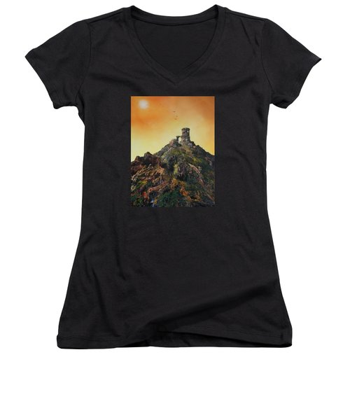 Women's V-Neck T-Shirt (Junior Cut) featuring the painting Mow Cop Castle Staffordshire by Jean Walker