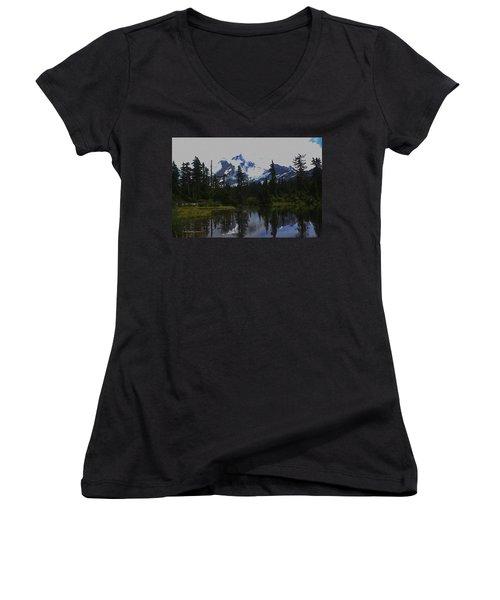 Mt Baker Washington  Women's V-Neck T-Shirt