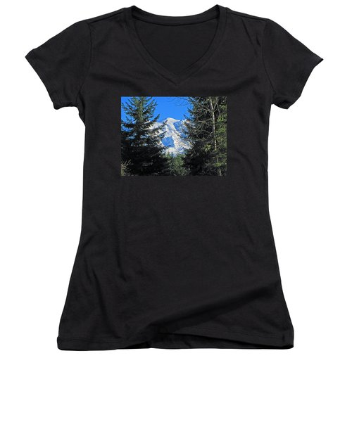 Women's V-Neck T-Shirt (Junior Cut) featuring the photograph Mt. Rainier I by Tikvah's Hope