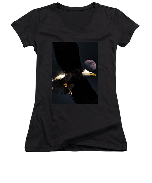 Night Moves Women's V-Neck T-Shirt (Junior Cut) by John Freidenberg
