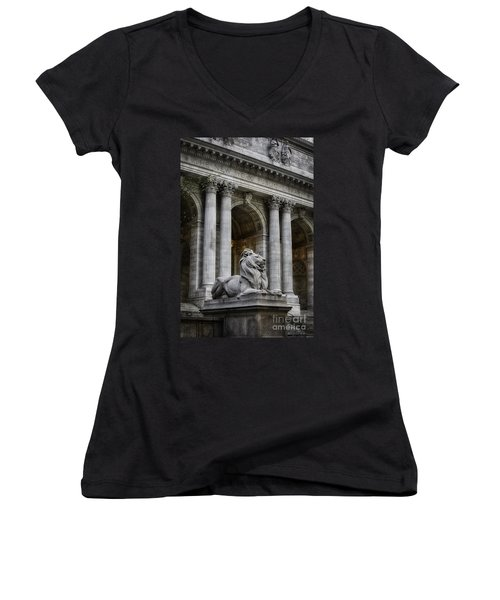 Ny Library Lion Women's V-Neck T-Shirt (Junior Cut) by Jerry Fornarotto
