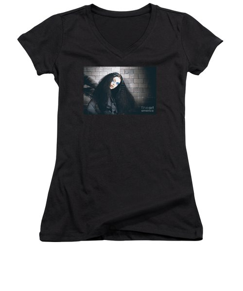 Occult Medieval Performer On Castle Brick Wall Women's V-Neck (Athletic Fit)