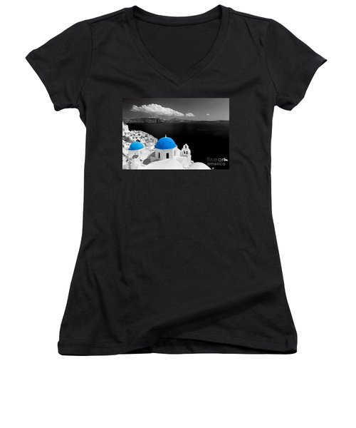 Oia Town On Santorini Island Greece Blue Dome Church Black And White. Women's V-Neck (Athletic Fit)