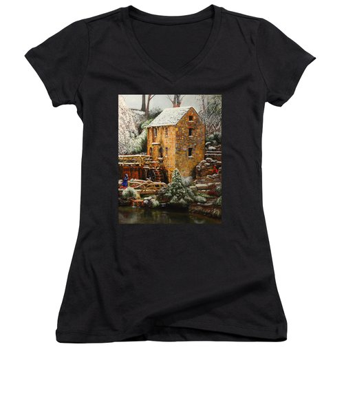 Old Mill In Winter Women's V-Neck (Athletic Fit)