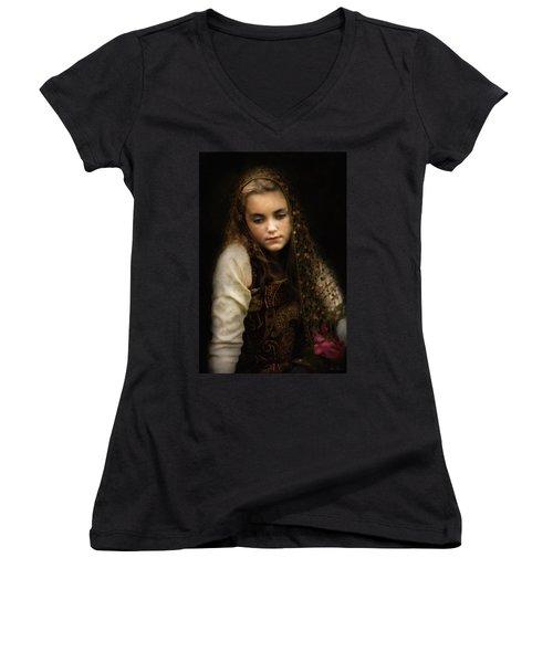 Women's V-Neck T-Shirt (Junior Cut) featuring the photograph Olivia by John Rivera