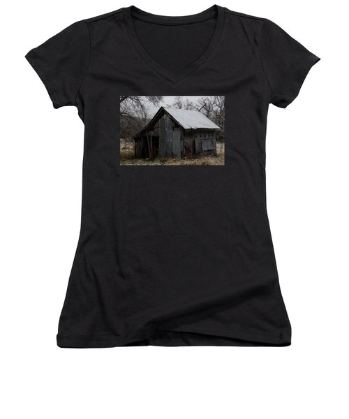 Patchwork Barn With Icicles Women's V-Neck (Athletic Fit)