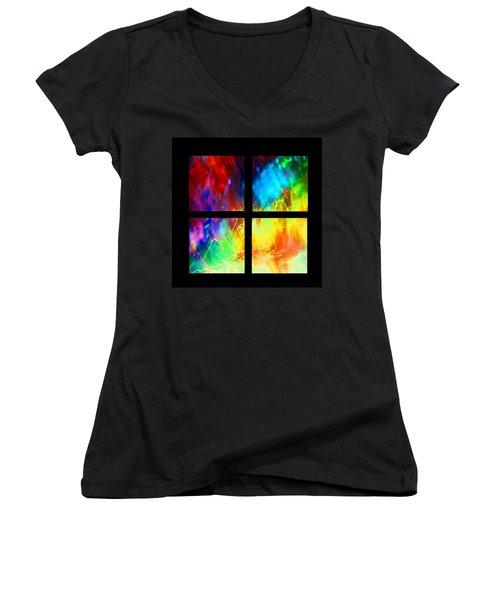 Physical Graffiti 1 Series Layout Women's V-Neck T-Shirt (Junior Cut) by Dazzle Zazz