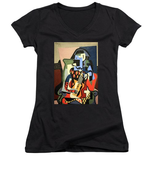 Picasso's Harlequin Musician Women's V-Neck (Athletic Fit)