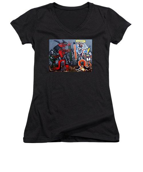 Pros Vs. Cons Women's V-Neck T-Shirt (Junior Cut) by Ryan Demaree