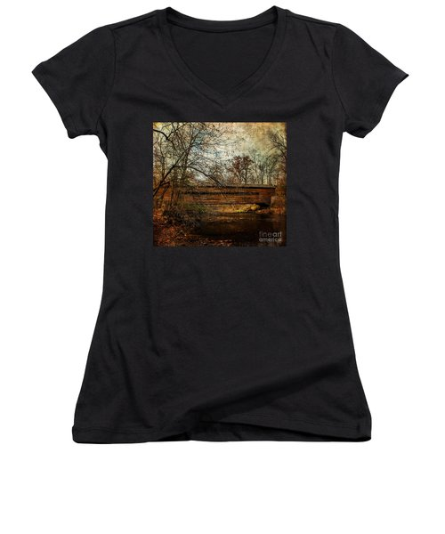 Rapps Dam Covered Bridge Women's V-Neck (Athletic Fit)
