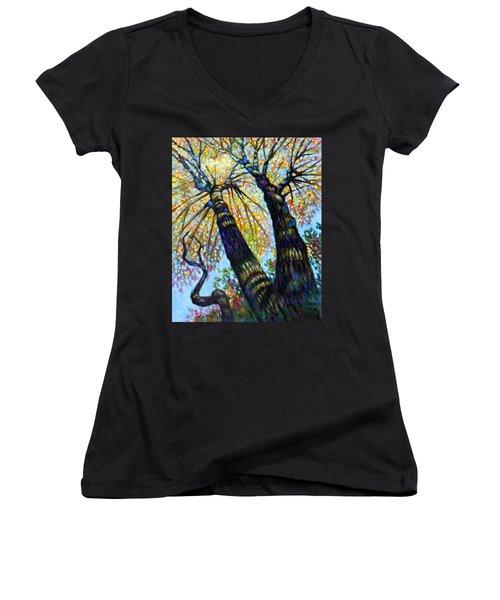 Reaching For The Light Women's V-Neck T-Shirt (Junior Cut) by John Lautermilch
