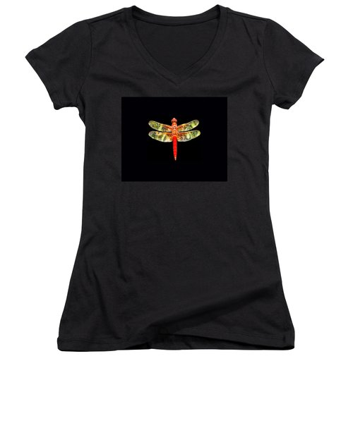 Red Dragonfly Small Women's V-Neck T-Shirt