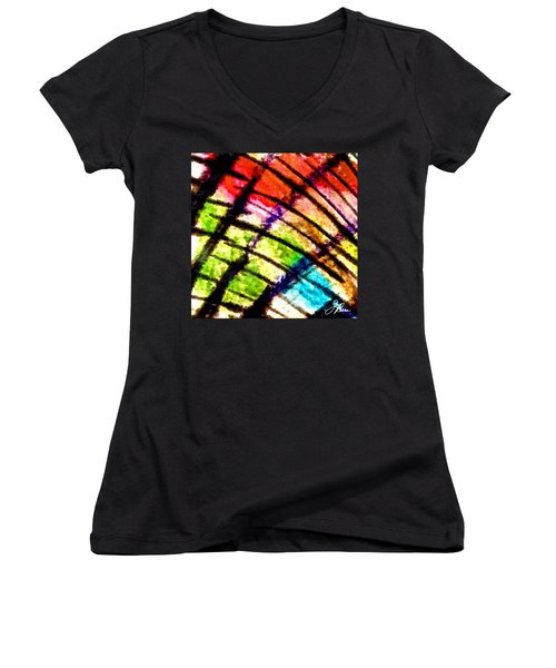 Women's V-Neck T-Shirt (Junior Cut) featuring the painting Red Reach by Joan Reese