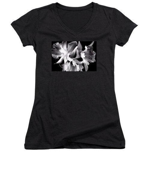 Women's V-Neck T-Shirt (Junior Cut) featuring the photograph Ruffled Daffodils  by Marianne Dow