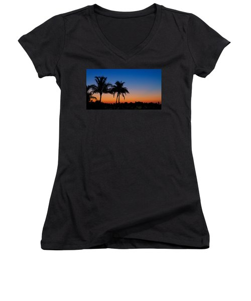 Sanibel Island Florida Sunset Women's V-Neck (Athletic Fit)