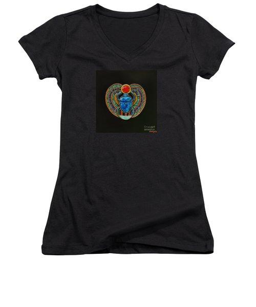 Scarab Women's V-Neck T-Shirt (Junior Cut) by Joseph Sonday