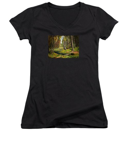 Silence Of The Forest Women's V-Neck T-Shirt
