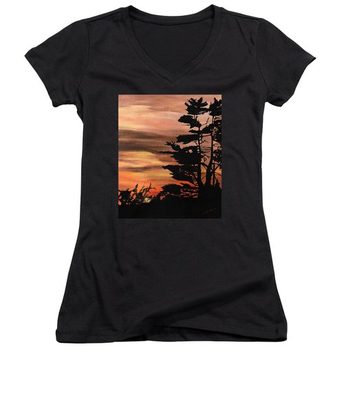 Women's V-Neck T-Shirt (Junior Cut) featuring the painting Silhouette Sunset by Mary Ellen Anderson