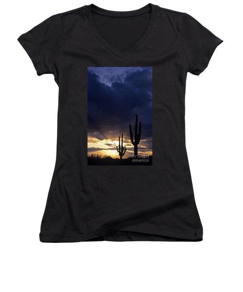 Silhouetted Saguaro Cactus Sunset At Dusk Arizona State Usa Women's V-Neck T-Shirt