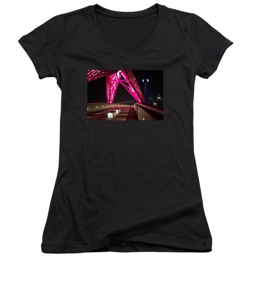 Women's V-Neck T-Shirt (Junior Cut) featuring the photograph Skydance Walkway by Lana Trussell