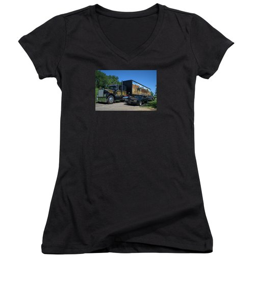Smokey And The Bandit Tribute 1973 Kenworth Semi Truck And The Bandit Women's V-Neck