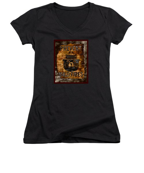 Smokey The Bear Only You Can Prevent Wild Fires Women's V-Neck T-Shirt (Junior Cut) by John Stephens